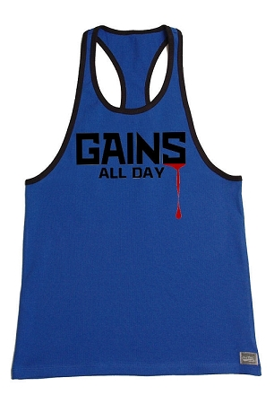 312R  Blue Tank Top With Black Trim With Gains All Day Graphics
