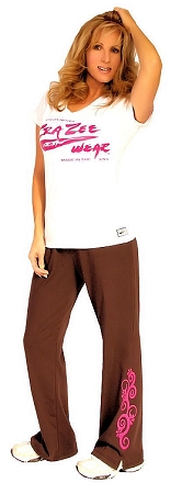 Crazeewear WSP800 brown w/flower swirl  Womens Pants