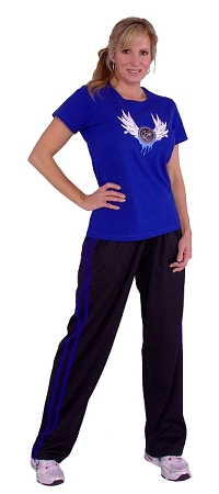 micro fiber pants  600MPS (black with royal blue stripes)