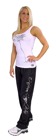 Style 500M Black Microfiber Baggy Pants With Cal. Crazee Wear Down Side in Silver