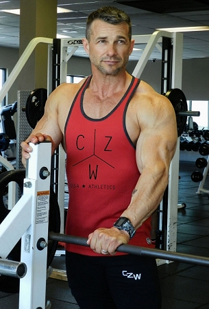 Crazee Wear 312RC Red Rib Stretch Fitted Tank Tops With Black Ribbing With CZW Athletics In Black