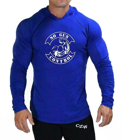 Fitted T-Shirt Pacific Hoodie ( Cobalt Blue)  For Men And Women With No Gun Control In White