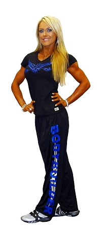 micro fiber pants (brand new to our edition) 600MP (black) W/Bodybuilding in blue and silver tribal