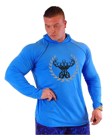 T-Shirt Pacific Hoodie Aqua Blue Pacific Hoodie With Back Muscle Man Crest