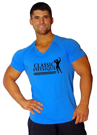 New Style 670V Aqua Blue, summer cool, light weight,  Fitted V-Neck  With  Classic Physique In Black