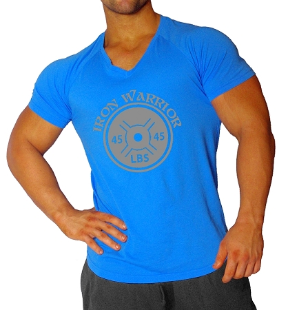 New Style 680V Aqua Blue, summer cool, light weight,  Fitted V-Neck With Iron Warrior In Grey. Clearance
