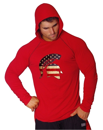 T-Shirt Pacific Fitted Hoodie  Red/ Black Stitching  For Men And Women With Spartan Flag Helmet