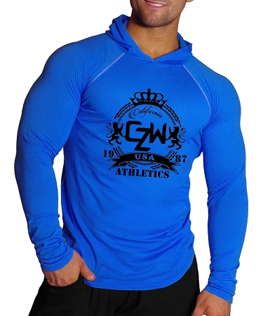 T-Shirt Pacific Fitted Hoodie  Blue/White Stitching  For Men And Women With Black CZW Crest