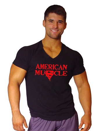 New Style 670V Black, summer cool, light weight,  Fitted V-Neck  With Red American Muscle Superman