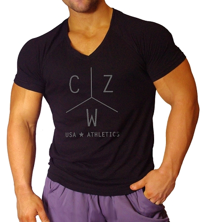 New Style 670V Black, summer cool, light weight,  Fitted V-Neck  With Grey CZW Athletic