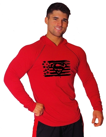 T-Shirt Pacific Fitted Hoodie  Red/ Black Stitching  For Men And Women With Black Super Flag