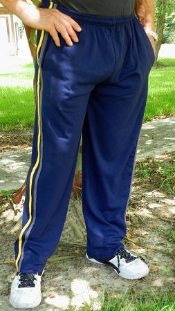 Style Mppj Navy Blue With Yellow And Grey stripes Relaxed Fit Pants For Men And women