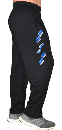 Classic Solid Black Pants For Men And Women With Neon Blue, Blue And Silver Trifecta Pattern