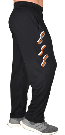 Classic Relaxed Fit Solid Black Pants For Men And Women With White, Orange, Grey Trifecta Design