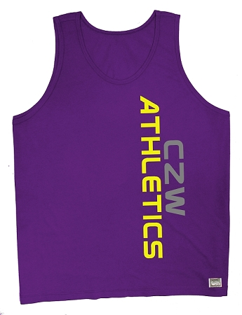 Style 350 New Purple CZW Venice Tank Top With Neon Yellow Athletics And Grey CZW