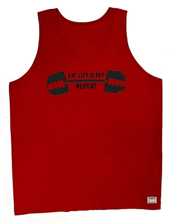 Style 350 New Red CZW Relaxed Fit Venice Tank Top With Black Eat.Lift.Sleep.Repeat