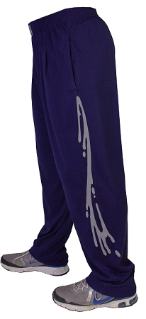Style 500M Solid Navy Blue Microfiber Relaxed Fit Baggy Pants With Grey New Wave