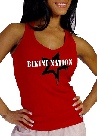 Style 340 Charcoal Stretch Rib Racer back Tank Top With Bikini Nation Star Graphis