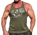 Army Green Stringer Fitted Tank Top With Old School Muscle Man Design