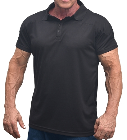 Solid Black Athletic Fitted Polo