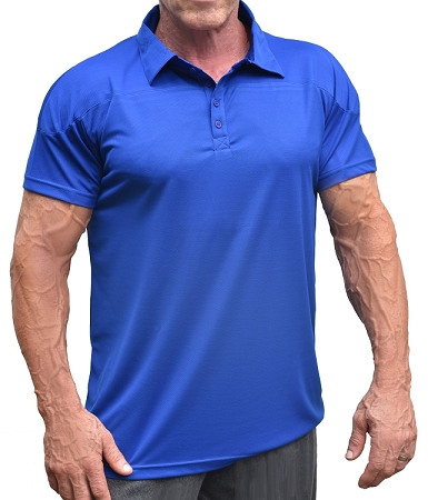 Solid Cobalt Blue Athletic Fitted Polo