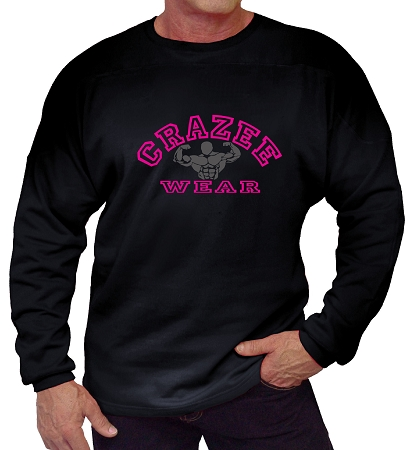 Style 444ft Black  Sweat Shirt  With CCW Retro Pink/Grey Design