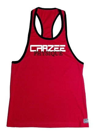 Crazee Wear 312RC Red Rib Stretch Fitted Tank Tops With Black Ribbing With White CRAZEE/ Black Physique