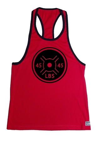 Crazee Wear 312RC Red Rib Stretch Fitted Tank Tops With Black Ribbing With 45 Lb. Plate In Black
