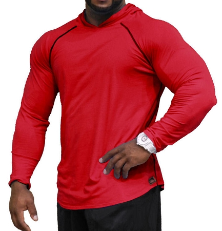 Fitted T-Shirt Pacific Hoodie ( Red/Black Stitching)  For Men And Women
