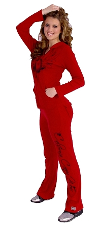 Style 200R Red With California Crazee Wear down leg in black Figure Pants