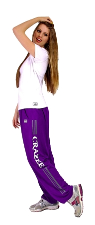 Style 500M Solid Purple Microfiber Relaxed Fit Baggy Pants With Grey Bars And Crazee Design