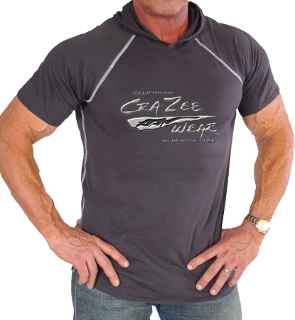 Pacific Hoodie 100% Cotton Fitted Short Sleeve Charcoal Grey  With Liquid Silver CZW Logo