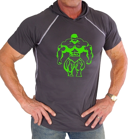 Pacific Hoodie 100% Cotton Fitted Short Sleeve Charcoal Grey  With Neon Green Huge Muscle Man