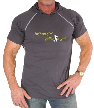 Pacific Hoodie 100% Cotton Fitted Short Sleeve Charcoal Grey  With Bodybuilder In Yellow