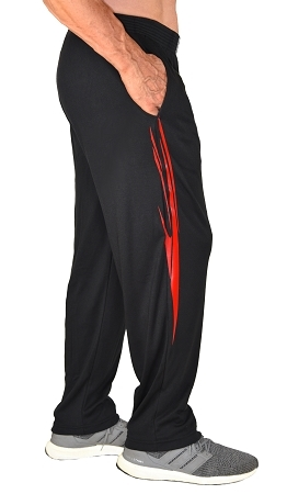 Classic Relaxed Fit Solid Black Pants For Men And Women With Red Spear Pattern
