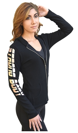 Style 800WH Black Ladies Hoodie With Gold Strong Body Design
