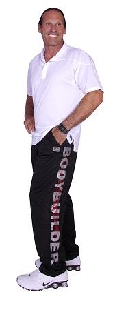 micro fiber pants  600MP (black) with silver bodybuilder/red tribal