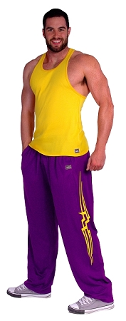 Style 500M Solid Purple Microfiber Relaxed Fit Baggy Pants With Yellow Stripe