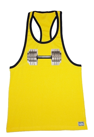 312R  Yellow With Black Trim Tank Top  With Versa Chrome Barbell