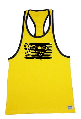 Crazee Wear 312Rc Yellow Rib Stretch Fitted Tank Tops With Black Trim With Superman Design In Black