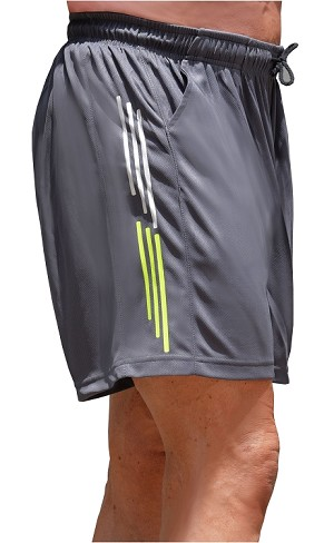 Style 600MSS  Micro blend Grey training shorts With Yellow And White Stripes