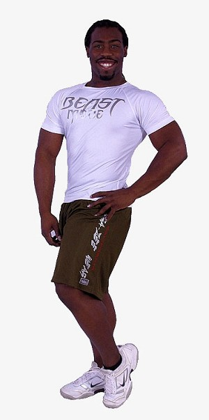 Style 600MS Micro blend Olive training shorts with Crazeewear in white,cal red
