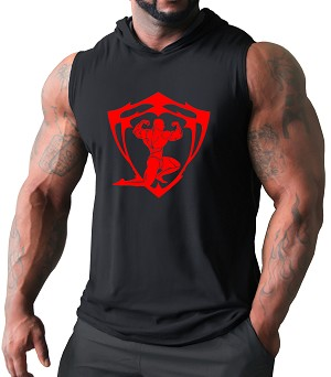 Pacific Sleeveless Hoodie In Black With Red Sparta Design