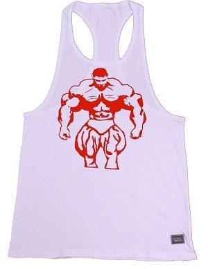 312R Rib White Tank Tops W/large Red Muscle Man